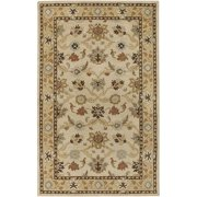 Hand-tufted Traditional Coliseum Vanilla Floral Border Wool Runner Rug (3' x 12') - 3' x 12'