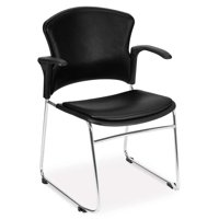 OFM Faux Leather Stacking Arm Chair in Black