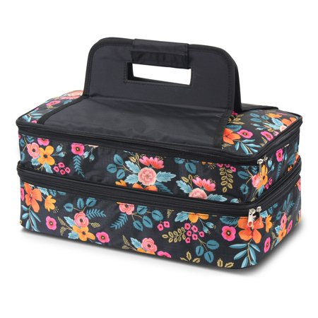 Zodaca Fashion Marion Floral Print Double Casserole Insulated Carrier Bag ()