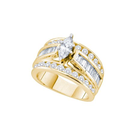 14k Gold Marquise Diamond Solitaire - 14kt Yellow Gold Womens Marquise Diamond Solitaire Bridal Wedding Engagement Ring 1.00 Cttw