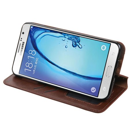 Insten Folio Leather Wallet Fabric Case with Stand & Photo Display For Samsung Galaxy On7 (2016) - Brown - image 2 of 4