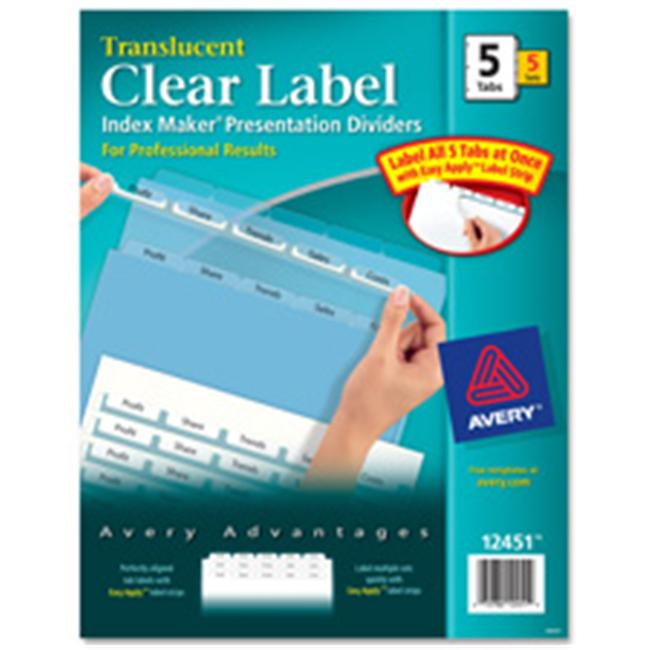 Avery Consumer Products AVE12449 Index Label Dividers- Plastic- 5-Tab- 3HP Punched- Clear