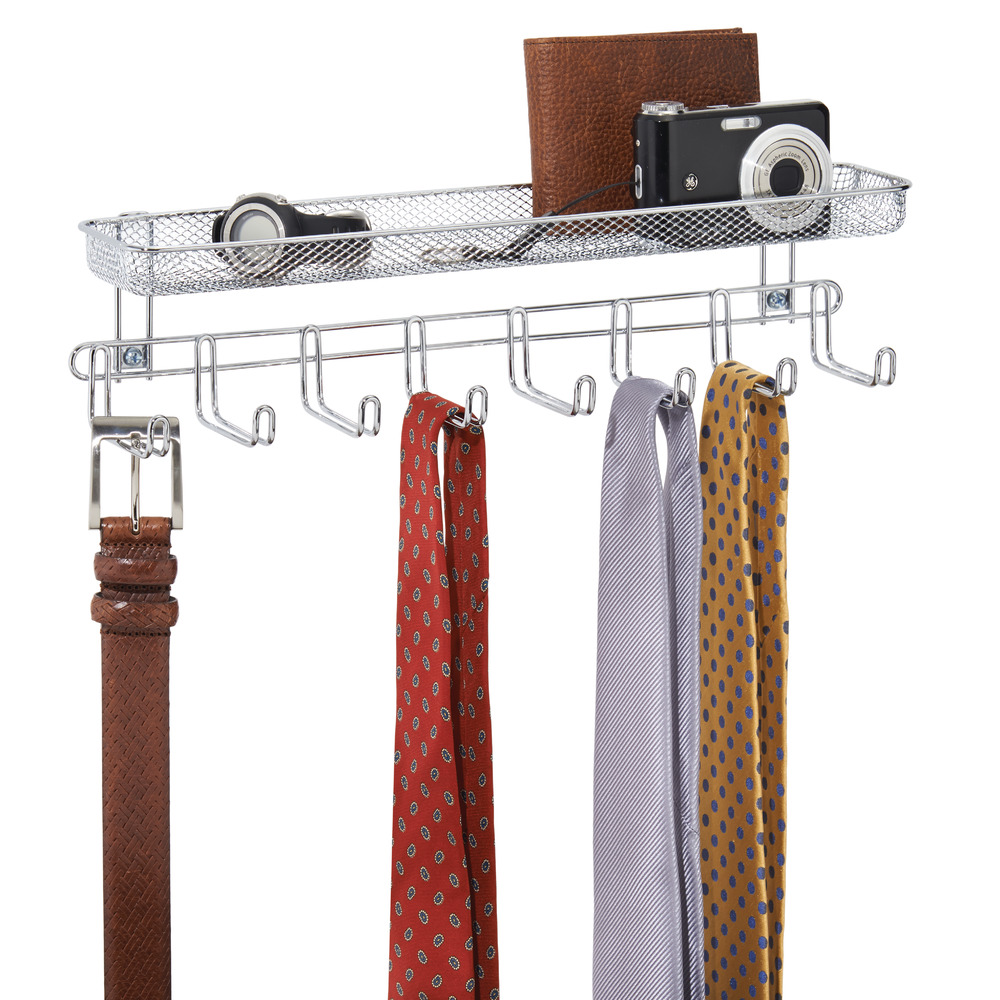 interdesign classico wall mount tie and belt rack wshelf