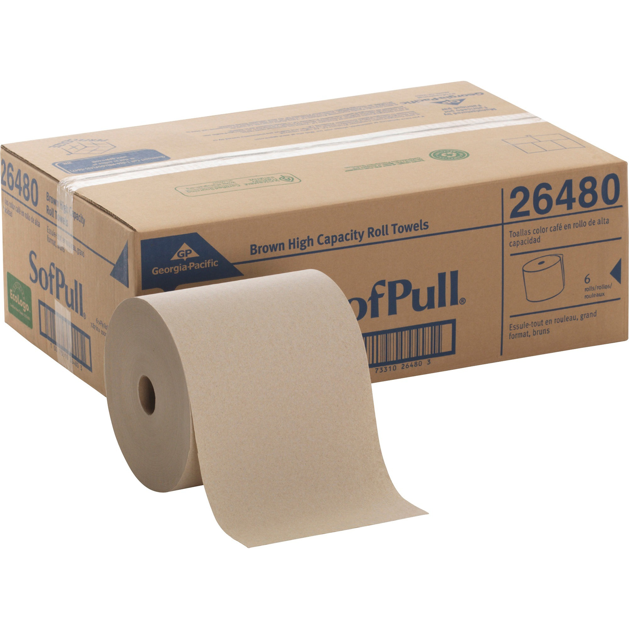 SofPull, GPC26480, Hardwound Brown Roll Paper Towels, 6 / Carton, Brown