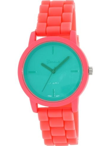 Geneva Platinum Women's 9856.CORAL.TEAL Pink Silicone Quartz Watch by