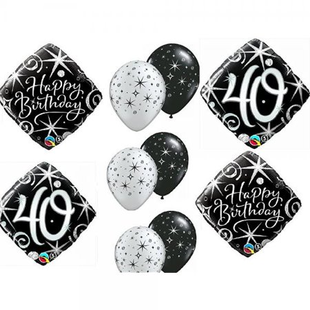 10pc BALLOON Set 40th BIRTHDAY Over The Hill Party BLACK Silver Classy Decorations