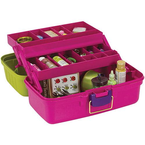 "Creative Options Two-Tray Craft Box, 14.25"" x 8.5"" x 7.75"", Green/Magenta/Purple"