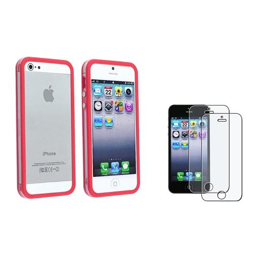 INSTEN Bumper w/Button Clear/Red Case+2x Anti-Glare Screen Protector For iPhone 5S 5