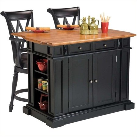 Home Styles Americana Kitchen Island in Black and Oak and 2 Bar Stools