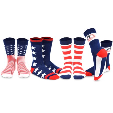 TeeHee Mens Novelty Fashion Americana Cotton Socks 4 Pair Pack