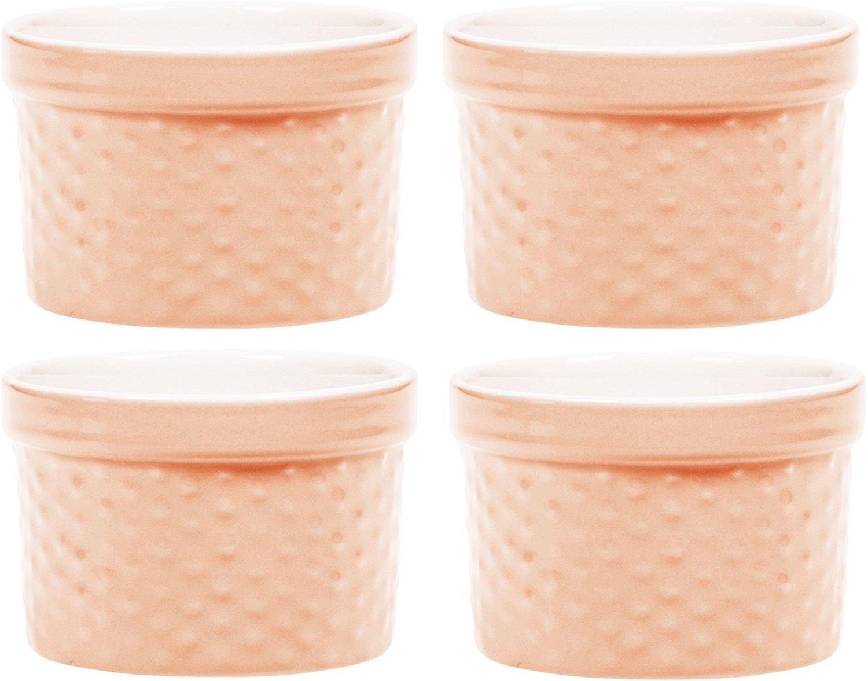 Round Porcelain Ramekin Dessert Dish, Set of 4 Oven Safe Souffle Baking Dish, 8-oz (Peach) by