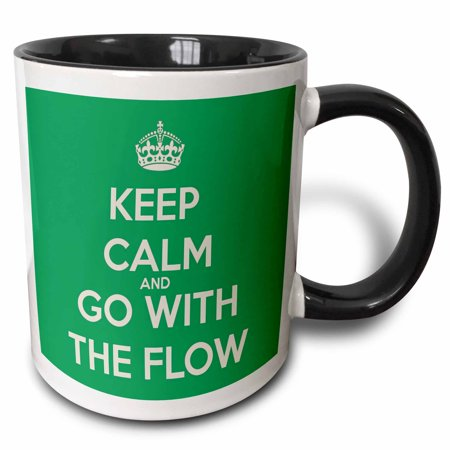 3dRose Keep calm and go with the flow. Green. - Two Tone Black Mug, 11-ounce ()