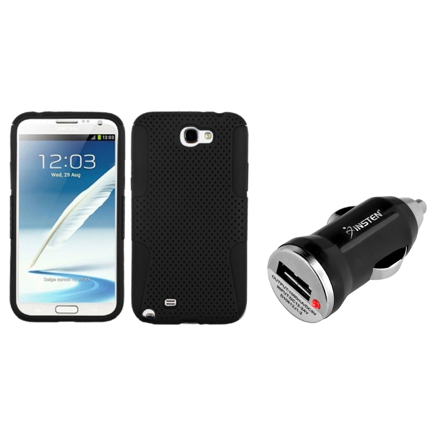 Insten Black/Black Hybrid Case+Mini Car Charger Adapter For Samsung Galaxy Note 2 II
