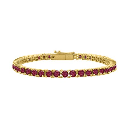 Created Ruby Tennis Bracelet in 18K Yellow Gold Vermeil. 7CT. TGW. 7 Inch - image 1 of 2