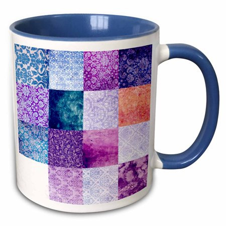 3dRose Purple quilt squares Grunge pattern print Vintage grungy damask patterns - girly patterned patches - Two Tone Blue Mug, 15-ounce