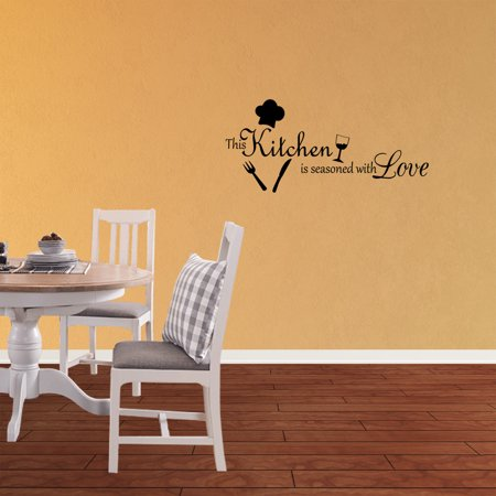This Kitchen Is Seasoned With Love Vinyl Wall Decal Quotes Wall Stickers Kitchen Decals Home Decor Decals J189 (Halloween Quotes Love)