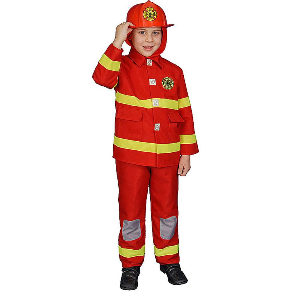 Dress Up America Boy Fire Fighter Children's Costume in Red