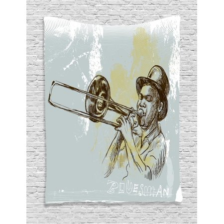 Jazz Music Tapestry, Trumpet Player Illustration Rock and Roll Party Classic Artful Design, Wall Hanging for Bedroom Living Room Dorm Decor, Gray Yellow Black, by - Rock And Roll Room Decor
