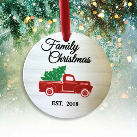 2018 Dated Family Christmas Ornament - Red Vintage Truck and Tree Design - Thumbprint Family Tree