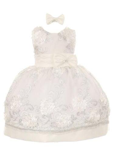 Baby Girls Ivory Floral Pattern Satin Flower Girl Bubble Dress 24M