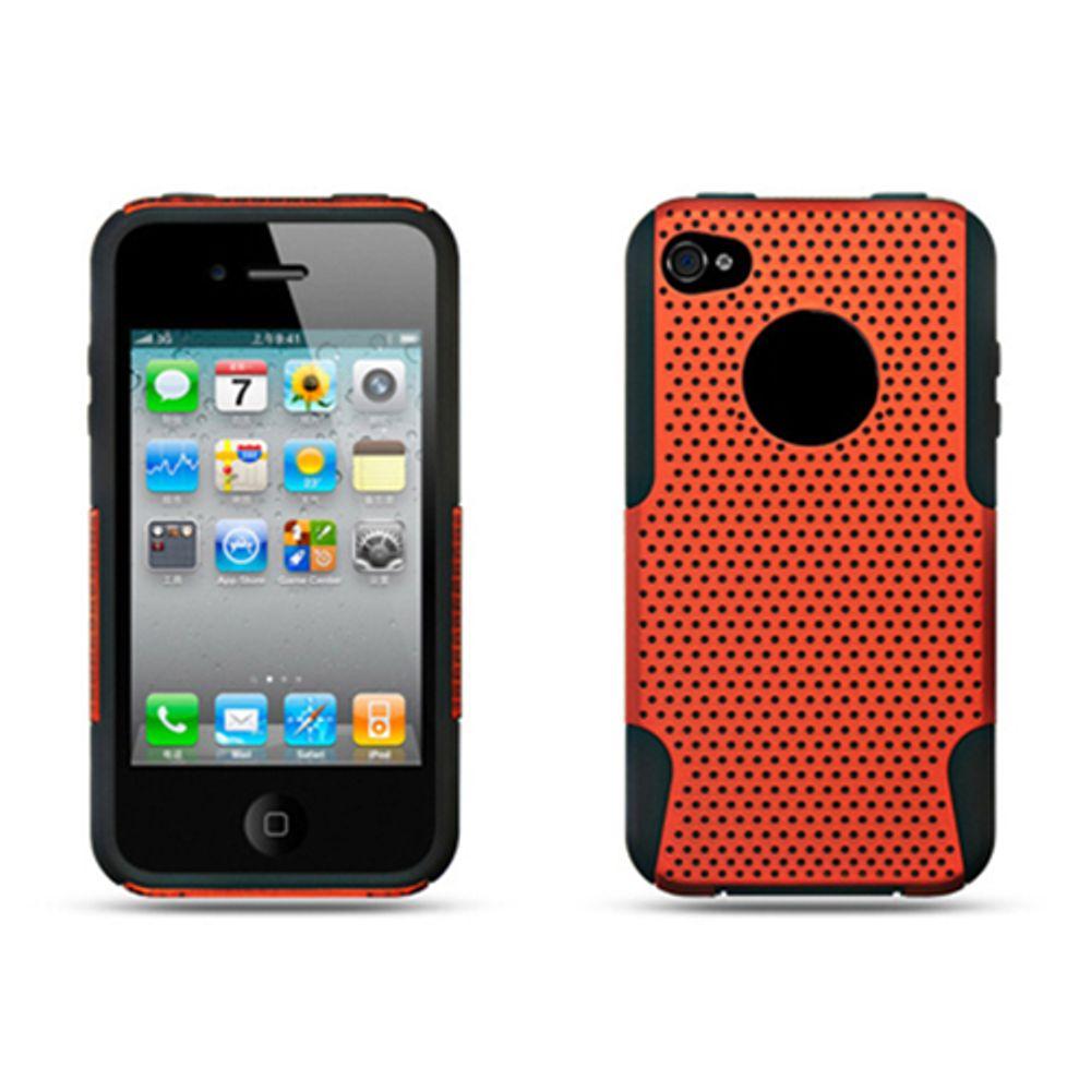 b576f406b50 iPhone 4S Case, iPhone 4 Case, by Insten Mesh Dual Layer Hybrid Rubberized  Hard Plastic/Soft Silicone Case Cover For Apple iPhone 4 - Orange/Black