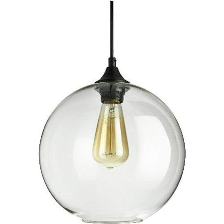 Sunlite 07092 - 1 Light (Medium Screw Base) Matte Black Clear Glass Sphere Pendant Light Fixture (AQF/CG/PD/S)