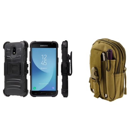 Rugged Case Holster Combo for Samsung Galaxy J3 Orbit (Black) with Khaki Tactical Utility Pack and Atom Cloth for Samsung Galaxy J3 (Khaki Combo)