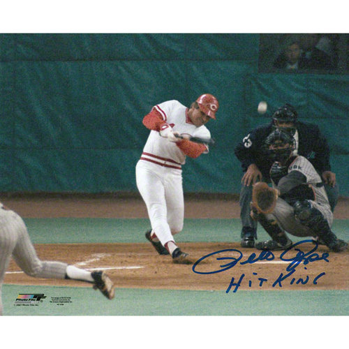 MLB - Pete Rose Cincinnati Reds - Record Breaking At Bat - Autographed 8x10 Photograph with Hit King Inscription