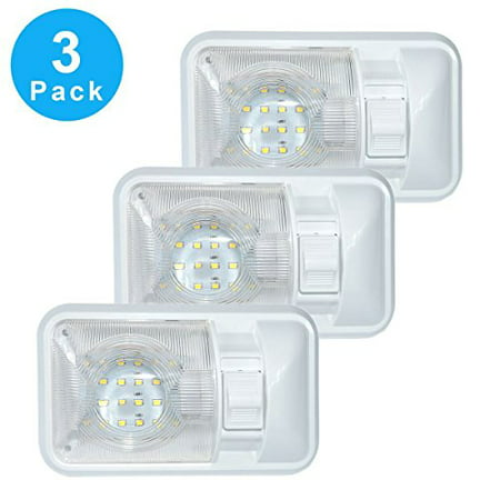 3 Pack 12V Led RV Ceiling Dome Light RV Interior Lighting for Trailer Camper with Switch, Single Dome 280LM