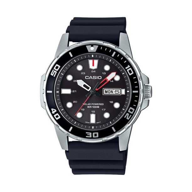 Casio Men's Solar Powered Analog Watch, Black Dial