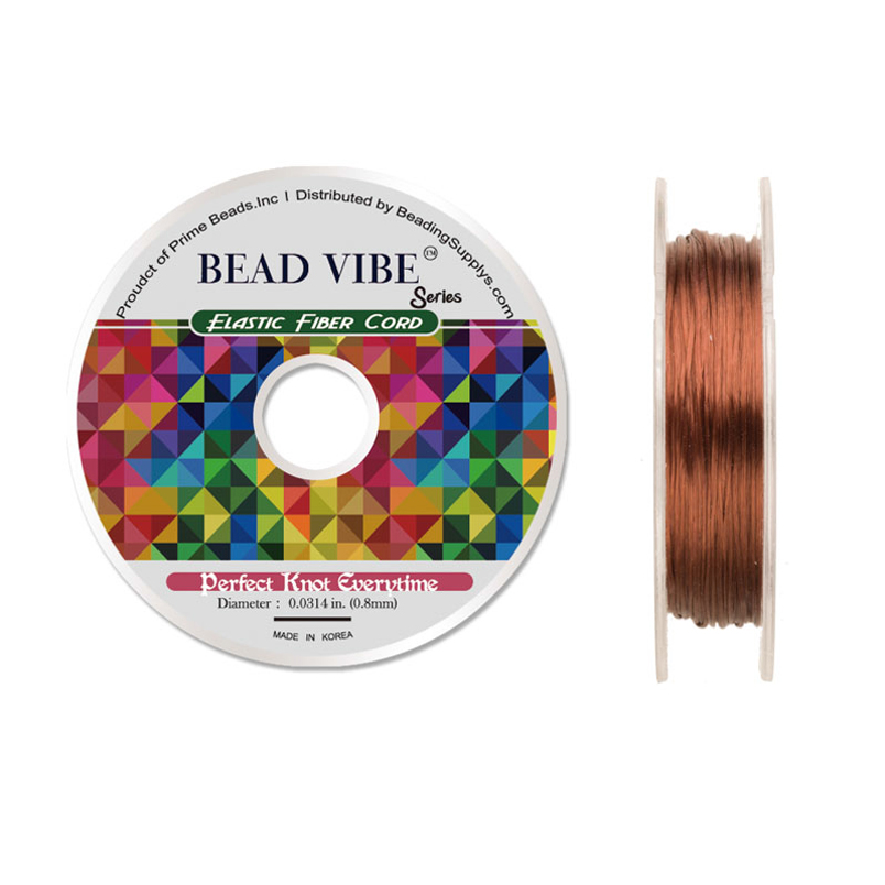 Elastic Fiber Cord, Beadvibe Series Elastic Fiber Cord, Orange 0.8mm Diameter 32ft