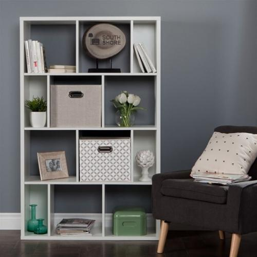 South Shore Reveal 12 Cubby Wood Bookcase in White with 2 Baskets