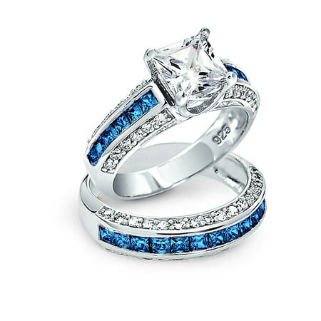 3CT Square Princess Cut Solitaire AAA London Blue AAA CZ Pave Band Engagement Wedding Ring Set 925 Sterling Silver