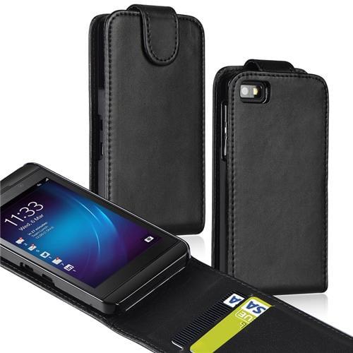 INSTEN Leather Flip Case with Card Holder For BlackBerry Z10, Black