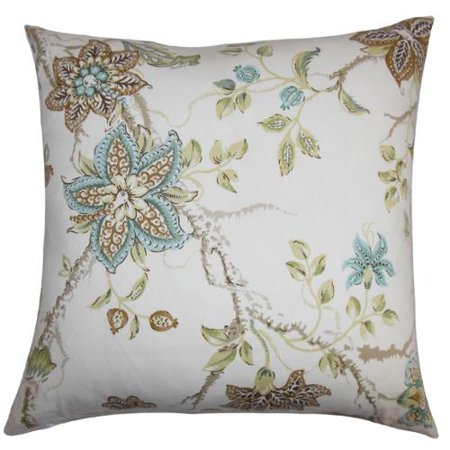Brown Floral Throw Pillow : The Pillow Collection Ululani Green/ Brown Floral 18-inch Feather and Down Filled Decorative ...