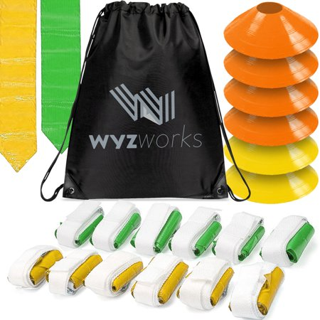 12 Player 3 Flag Football Kit Set - 12 Belts with 36 Flags [ 18 Green & 18 Yellow Flags ] Bonus 6 Cones + Travel