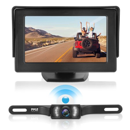 PYLE PLCM4585WIR - 2.4Ghz Backup Camera & Video Monitor System with Wireless Video Transmission, Waterproof Rated Cam, Night Vision, 4.3'' -inch