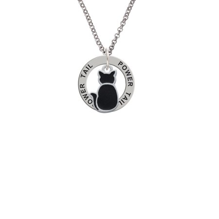 Large 2-D Black Cat Back Power Tail Affirmation Ring Necklace