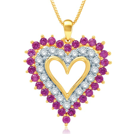Classic  4.00 Carat Created Round Shaped Ruby with White Sapphire Heart Shaped Necklace In 14K Yellow Gold Plated. Pear Shaped Ruby Necklace