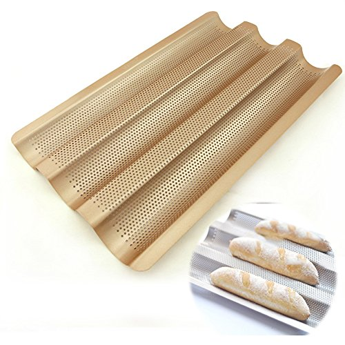 Amhii 3 Perforated Baguette Pan Non Stick Carbon Steel French Bread Pan Wave Loaf Bake Mold, 15.7'' x 9.7''... by