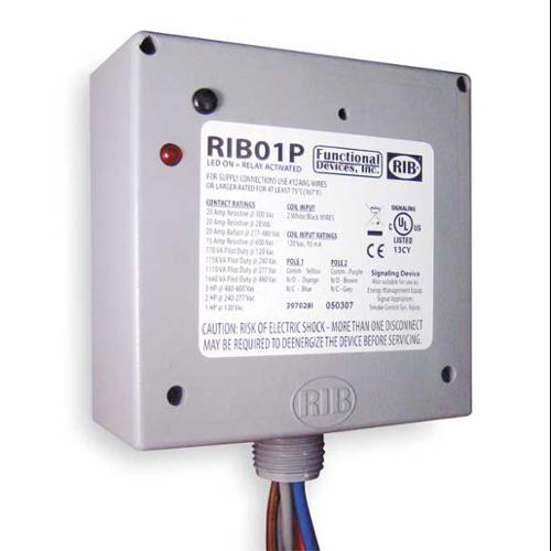 FUNCTIONAL DEVICES INC / RIB RIB01P Enclosed Pre-Wired Relay, DPDT, 20A@300VAC