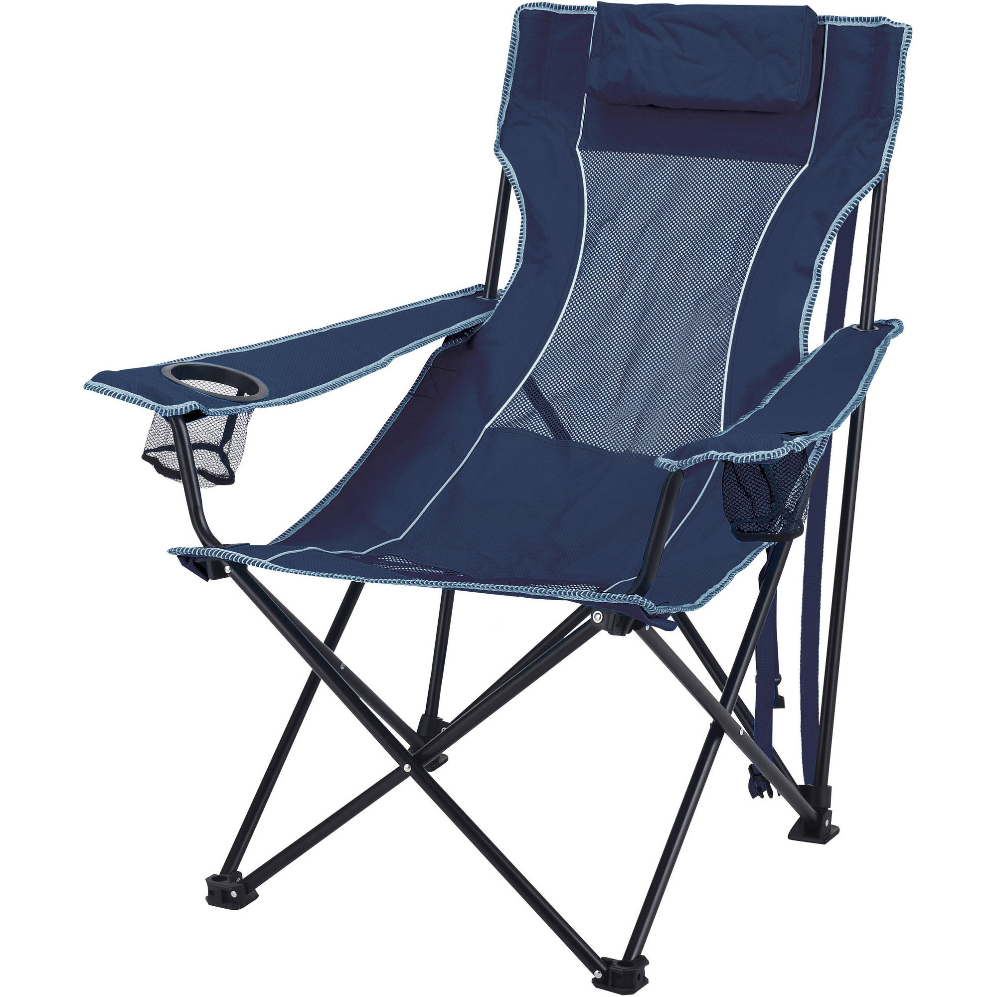 Ozark Trail Oversized Mesh Lounge Camping Chair with Cup Holders