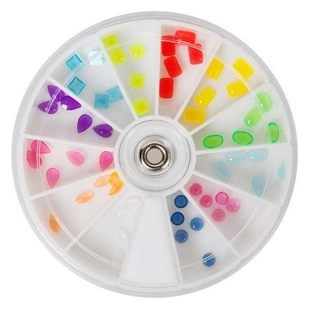 BMC Super Cute 60pc Colorful Clear Mixed Neon Nail Polish Art Stone Wheel Set