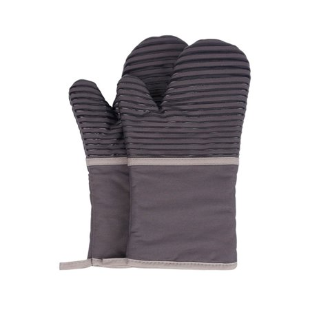 Image of Microwave Oven Gloves Lengthen Insulation Gloves Anti-Scalding High Temperature Cotton Silicone Gloves