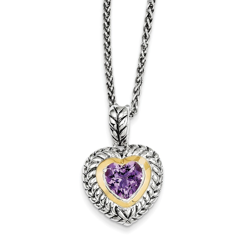 Sterling Silver 14k 1.82 Amethyst Heart 18in Vintage Style Necklace 1.82ct by Jewelrypot
