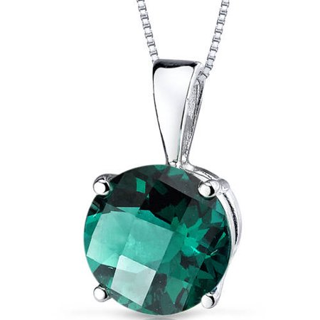 1.63 ct Round Green Created Emerald Pendant Necklace in 14K White Gold, 18