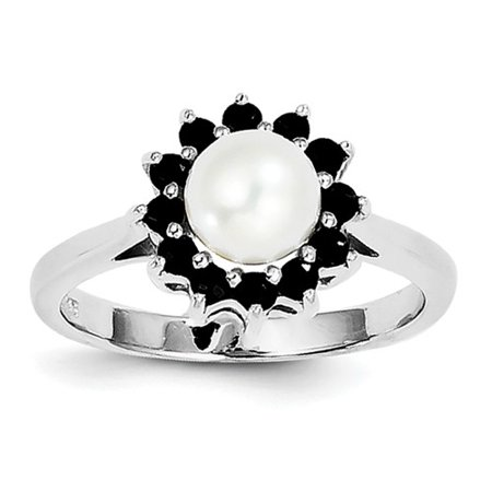 Versil  Sterling Silver Rhodium-plated 6mm Freshwater Cultured Button Pearl and Sapphire Ring