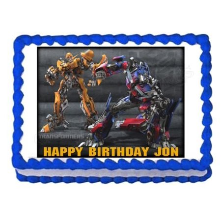 80s Cake Decorations (TRANSFORMERS BUMBLEBEE OPTIMUS PRIME edible cake image cake topper)