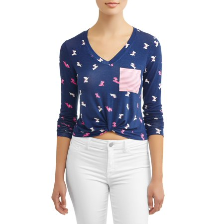 Juniors' All Over Printed Twist Front Pocket Tee