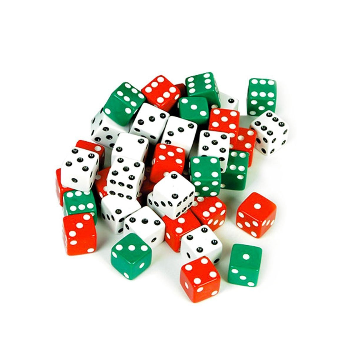 Red, White, and Green Dot Opaque Square Black Dots Casino Board Games Dice (6 of Each)Includes 6 Dice of Each Color: Red, White & Green By Tytroy